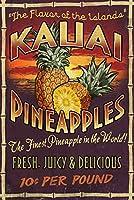 カウアイ島、ハワイ–パイナップルVintage Sign 24 x 36 Giclee Print LANT-56371-24x36