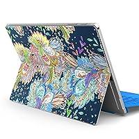 Surface pro6 pro2017 pro4 専用スキンシール サーフェス ノートブック ノートパソコン カバー ケース フィルム ステッカー アクセサリー 保護 植物 アジアン カラフル 014464