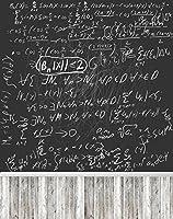 学校教育写真背景ブラックボードホワイトチョーク数学式フォトブースStudio Backdrop with木製床5× 7ft