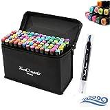 hosum マーカーペン イラストマーカー 80色 セット 水彩ペン 2種類のペン先 太字 細字 油性コミック用 塗り絵、描画、落書き、学習用の カラーペンセット