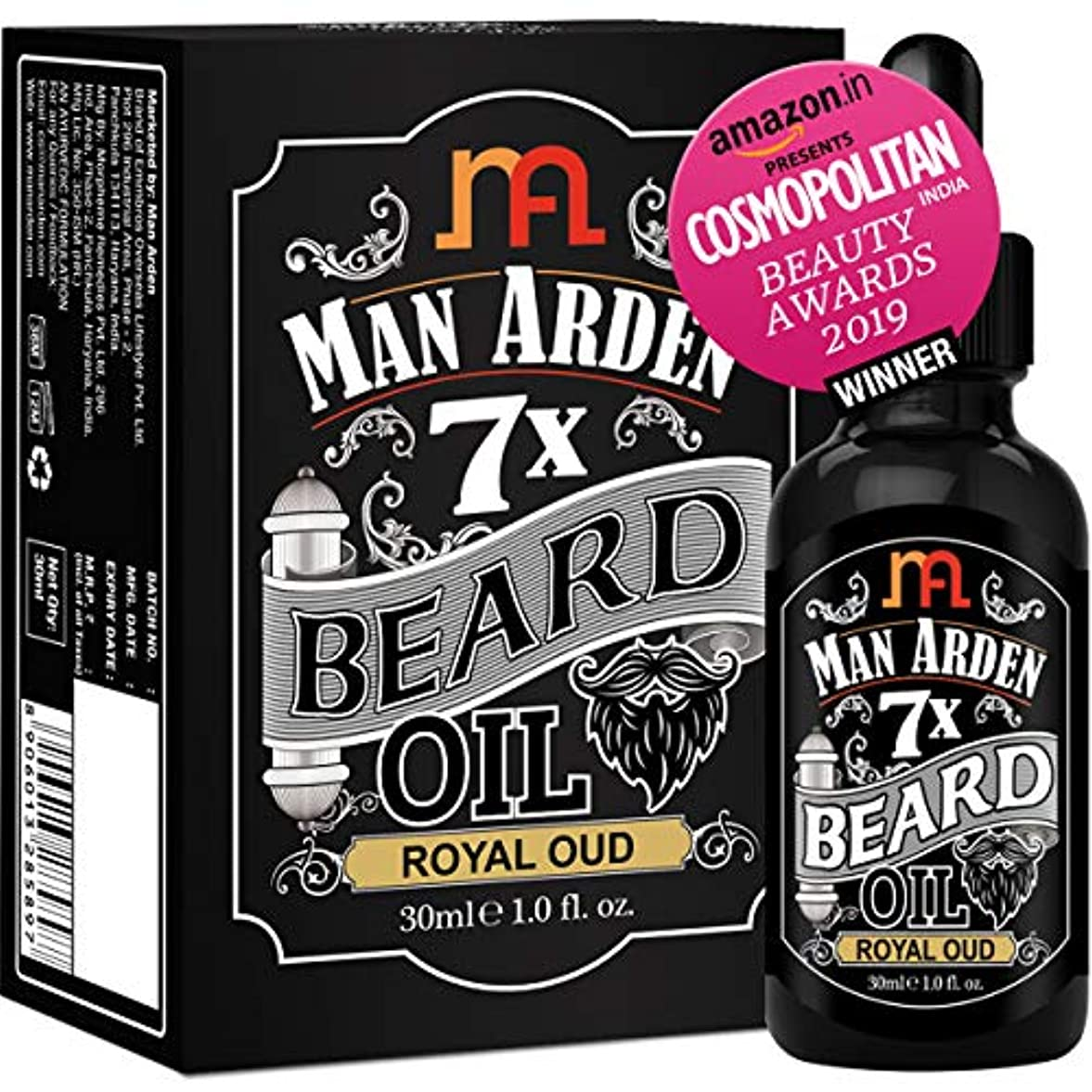 Man Arden 7X Beard Oil 30ml (Royal Oud) - 7 Premium Oils Blend For Beard Growth & Nourishment