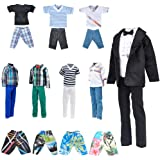 "E-TING Stylish Doll Clothes Pack, Lot 10 Items = 5 Sets Casual Clothing/Outfit with 5 Pair Shoes for 12"" Boy Doll Random Styl"