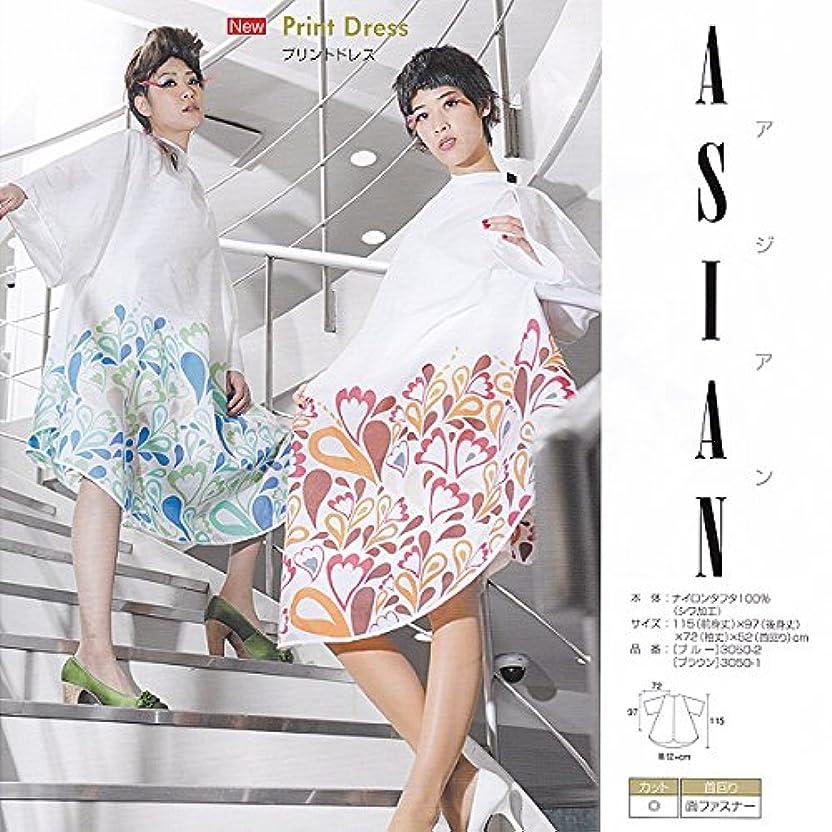 古代フェデレーション雪だるまを作るWAKO ASIAN アジアンプリントドレス №3050 3050-2(アジアンブルー) 115(前身丈)×97(後身丈)×72(袖丈)×52(首回リ)