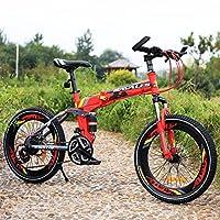 子供用折りたたみ自転車, 学生折りたたみ自転車 軽量 マウンテン バイク ショックアブソーバー 21 速度 折りたたみ自転車-赤 20inch