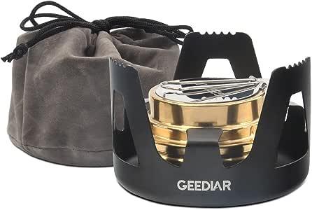 GEEDIAR アルコール ストーブ シングル バーナー セット 小型 コンパクト 軽量 アウトドア キャンプ 防災 登山 料理用 五徳付き 風防