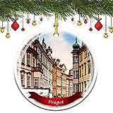Fhdang Decor Prague、チェコ共和国シティサイト クリスマスオーナメント 磁器両面セラミックオーナメント 3インチ