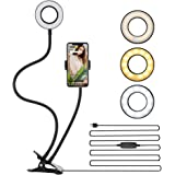 Selfie Ring Light, LEDGLE Upgraded Ring Light 360° Rotating with Cell Phone Holder Stand and Flexible Arms 3 Light Modes 10 L
