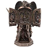 "Veronese Design 11 3/8"" Tall Cold Cast Resin Antique Bronze Finish Armored Archangel Saint Michael Triptych Statue Figurine"