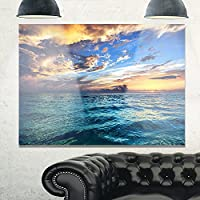 """デザインアートmt10889–20–12Exotic Tropical Beach at sunsetモダンSeashoreメタル壁アート 28x12"""" MT10889-28-12"""