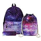 アクトン ナイロン 宇宙 星空 銀河 リュックサック バックパックとペンケースと巾着袋 3セット ブルー