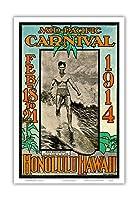 1914ミッドパシフィック・カーニバル - ホノルルハワイ - 特長デューク・カハナモク、世界のチャンピオンのスイマー - ビンテージなカーニバルのポスター によって作成された ルー・ヘンダーソン, ネッド・スティール c.1914 - アートポスター - 23cm x 31cm