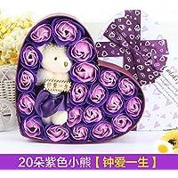 jialele Valentines DayローズbouquetroseソープフラワーギフトboxgiftボックスSoap rosebirthdayローズフラワーソープフラワー花のブーケ20Life ブルー 6946958138119
