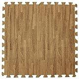ジョイントマット 木目調 3畳用 16枚組 大判 60cm 床暖房対応 サイドパーツ付き ナチュラルブラウン JTM-60-10