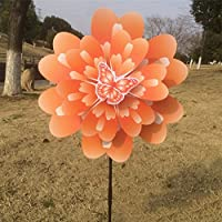 (Orange) - Onpiece Two-layer Butterfly Peony Flower Colourful Wind Spinner Windmill Home Garden Decor (Orange)