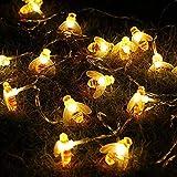 Honeybee Fairy String Lights,ER CHEN(TM) 10Ft 20 LED Honeybee Battery Power Led String Lights for Party,Wedding,Xmas,Decorati