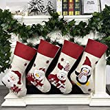 Flowish Christmas Stockings, 4 Pack Christmas Ornaments Classic Personalized Large Santa Snowman Stocking Decorations for Fam