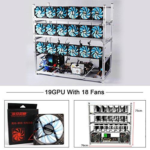 19 GPU オープン Air Miningリグ スタッカブルフレーム Mining Case コンピュータ フレーム シルバー ブラック 二色選び 18pcs ファン(レットとLEDのブルー)も含まれます