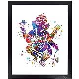 Dignovel Studios Unframed 8X10 Elephant Hindu God Ganesha Lord Worship Prayer Watercolor Art Wedding Housewarming Nursery Kid