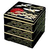 若泉漆器 3段重箱 6.5寸 校倉重 黒日の出鶴 (内黒) H-158-34-A