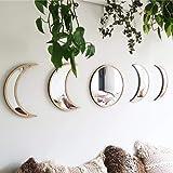 5 Pieces Scandinavian Natural Decor Acrylic Wall Decorative Mirror Interior Design Wooden Moon Phase Mirror Bohemian Wall Dec
