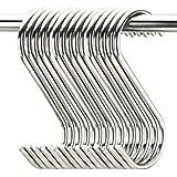 "20 Pack 3.5"" Hooks S Shaped Hanging Hooks Stainless Steel Metal Hangers Hanging Hooks Kitchen,Closet,Bathroom,Work Shop,Garde"