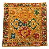 チベット 法具  / 仏像 / おりん / 木魚  五鈷杵 仏具・法具用 座布団・マット・絨毯 風水 G-6 (橙)