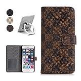 HUAZAI アップル iPhone6s ケース iPhone6 カバー 4.7inch対応 アイフォン6 アイフォン6S スマホケース レザーケース チェック柄 グリッド 手帳型 手帳ケース シンプル 上品 スロット付き スタンドでき リングスタンド贈り 「ブラウン」