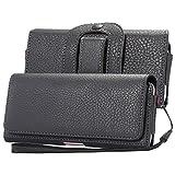 Lordwey スマホ ベルトケース ベルトポーチ ベルトホルダー カード収納 ベルト装着 ストラップ付き レザー 小物 コイン入れ 6.0インチまで各機種対応iPhone8 Plus/7 plus/6 plus/Samsung note8/S8plus/S9/S9plus 便利性高い(黒色)