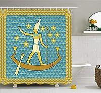 Yeussエジプトのシャワーカーテン、エジプトのファラオ波に囲まれた星と空にセーリングフレーム、布生地のバスルームの装飾、フック付き、イエローブルー