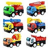 車 6台 セット トラック ダンプ 消防車 ミキサー クレーン車 ショベルカー 慣性 で 走る ミニカー 子供 おもちゃ