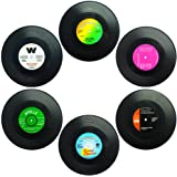 Set Of 6 Coasters, Senhai Retro Vinyl Record Mats Placemats For Cold Hot Drinks, Anti-Skid Tabletop Protection Prevents Slipp