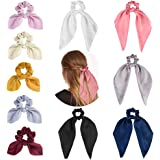 Scarf Hair Scrunchies, 10 Pcs Elastic Bunny Ear Bow Hair Scrunchie Soft Scarf Hair Scrunchies Hair Bands for Women Girls