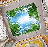 Weaeo カスタム3D写真の壁紙ブルースカイホワイトクラウドフォレストツリーブランチ天井ゼニスの背景の壁画壁紙のリビングルーム-200X140Cm