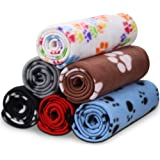 (6 Pack of 60cm x 70cm) - Comsmart Puppy Blanket Warm Dog Cat Fleece Blankets Pet Sleep Mat Pad Bed Cover with Paw Print Soft
