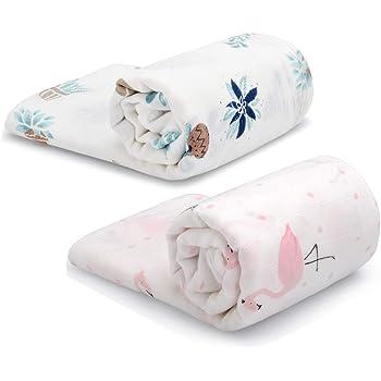 Bebiwa おくるみ ベビーブランケット モスリンコットン 授乳ケープ プレイマット 可愛い 保温 吸水 速乾 出産祝いにおすすめ120*120cm 2枚セット