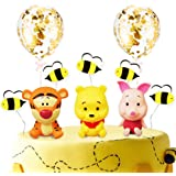 Winnie The Pooh Party Cake Topper, Pooh Bear Cake Topper for Birthday Baby Shower Party Cake Decorations