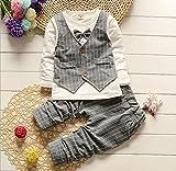 (チ-ンスン) Qingsun 上品 スーツ 子供服 ロンパーススーツ ベビー服 長袖 新生児 出産祝い 結婚式 2点セット 4サイズ選択