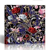 emvency絵画壁アートキャンバス印刷正方形12x 12インチ花の3dレッドピンクホワイトバラとカラフルなペイズリー花Flourish装飾木製フレーム 12x12 イエロー