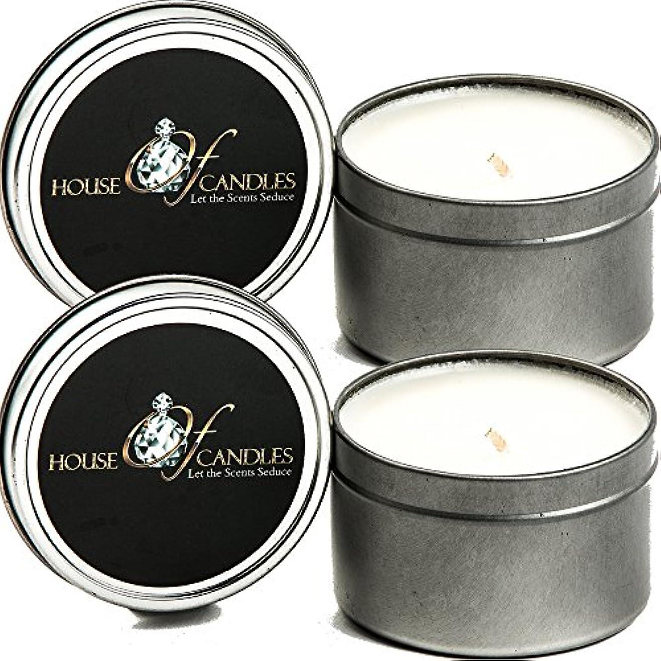 開発バイソンフェザープラムプディングX 2 Ecosoy Scented Candles – Tins – Vegan &虐待フリー
