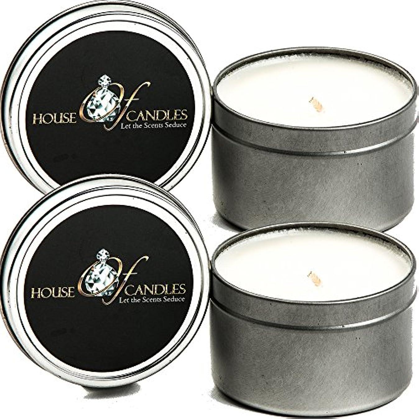 色再発する作物クリスマスツリーX 2 Ecosoy Scented Candles – Tins – Vegan &虐待フリー