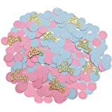 220 Pcs Glitter Oh Baby Gender Reveal Table Confetti Pink Blue Round Confetti for Baby Shower Gender Reveal Party Decorations