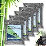 Activated Bamboo Charcoal Air Purifying Bags For Closet Shoe Home Basement Natural 5 PACKS(5×200g)