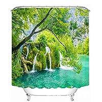緑の草の滝浴室のカーテンのバスタブポリエステル壊れたシャワーのカーテン3Dデジタル印刷厚い防水性の証拠速乾家庭12pcsのフック付きカーテンを吊るす (Size : 200x180cm)