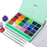 HIMI Gouache Paint Set, 24 Colors x 30ml Unique Jelly Cup Design with 3 Paint Brushes in a Carrying Case Perfect for Artists,