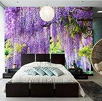 Lcymt カスタム任意のサイズ3D壁画壁紙牧歌紫ブドウトレリス自然風景ファッションインテリアリビングルームカフェの装飾フレスコ-250X175Cm