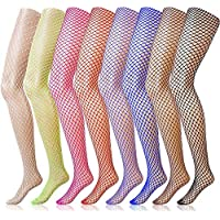 LGDehome 8 Pairs Fishnet Stockings Fishnet Tights High Waist Pantyhose Fishnet Leggings Thigh Highs Stocking for Women Girls