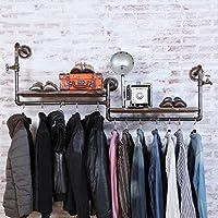 浮遊式棚 コートラック衣料品店ハンガーディスプレイスタンドレトロ古い木の水パイプ棚衣類ラックの壁ハンガー(サイズ:120センチメートル) 工業用壁フレーム