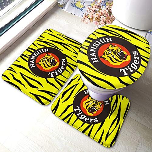 トイレクッションスリーピース 阪神タイガース バスマット 速乾サラサラ 滑り止めシート付属 風呂マット 60×40cmLonsan