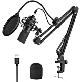Fifine USB Streaming Microphone Kit, Condenser Studio Mic with Arm Stand & Pop Filter for Podcast Vocal Recording Singing You