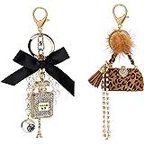 Allnice Women Keychain, 2 Pack Perfume Bottle Diamond Keychain + Leopard Keychain, Bow-Knot Pearl Handbag Personalised Keyrin